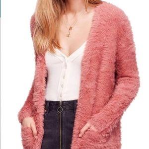 Free People Dusty Rose Faux Fur Cardi